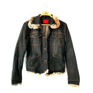 Nicole Miller New York fur lined denim jacket